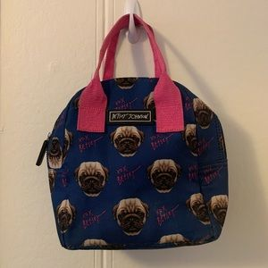 Betsey Johnson Blue Pugs Lunch Bag One Size